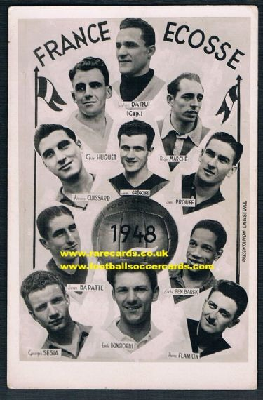 1948 Ben Barek France v Scotland card